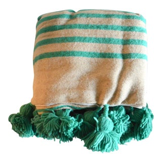 Teal Stripes Wool Moroccan Pom Pom Blanket