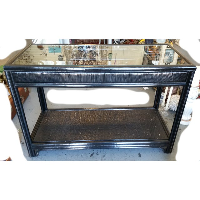 Vintage Glass Top Rattan Console Table - Image 2 of 10