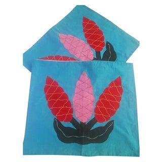 Polynesian Blue Applique Pillow Covers - A Pair