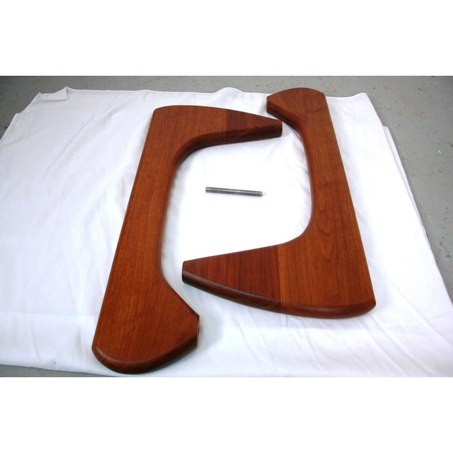 Noguchi Style Walnut & Glass Coffee Table - Image 7 of 7