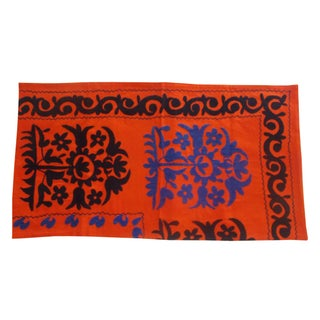Uzbek Bridal Suzani Sham in Orange & Blue
