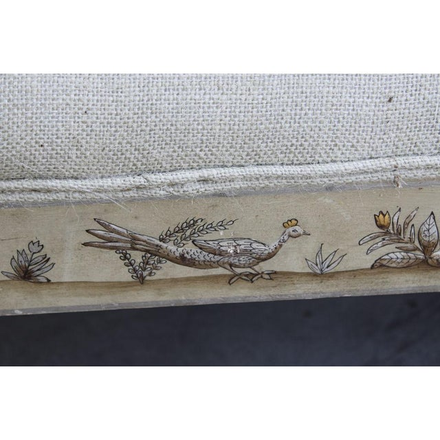 Image of Painted Upholstered Bench with Chinoiserie Decoration