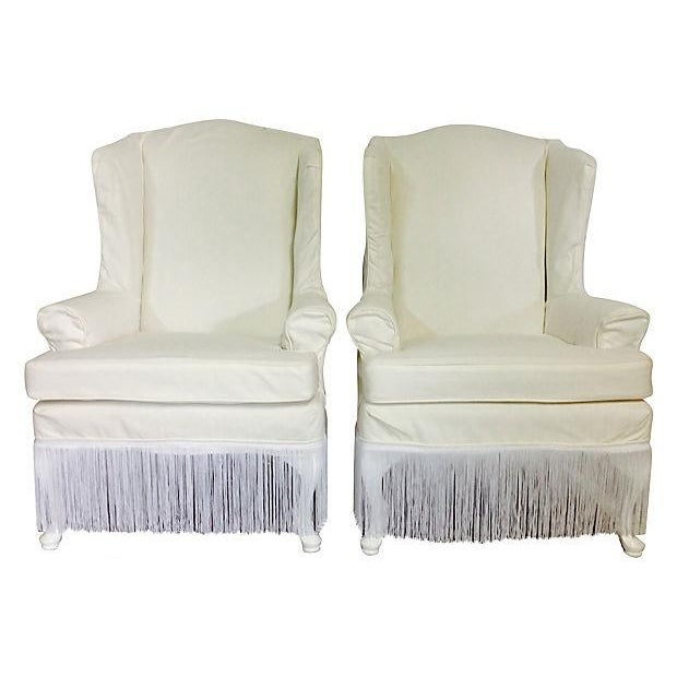 1970s Slipcover White Wingback Chairs- A Pair - Image 1 of 4