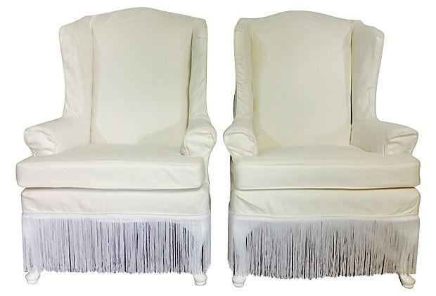 1970s slipcover white wingback chairs a pair chairish
