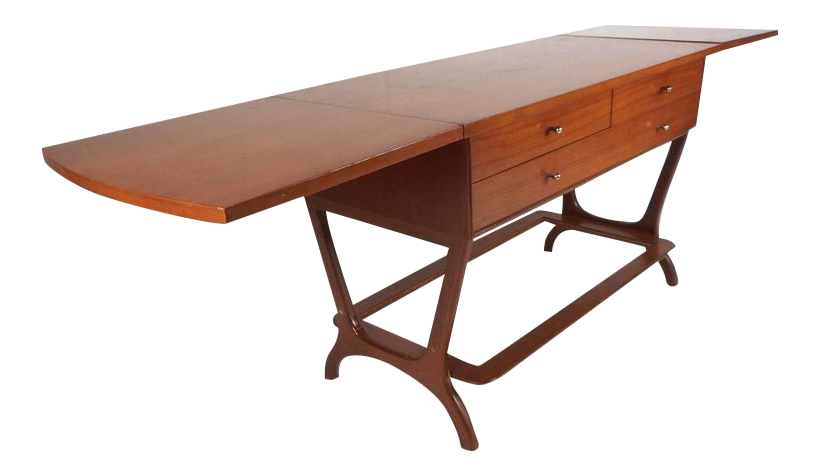 RWAY Mid Century Modern Drop Leaf Console Table
