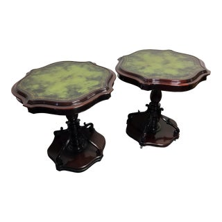 Vintage Mahogany Pedestal Side Tables W/ Leather Top - A Pair