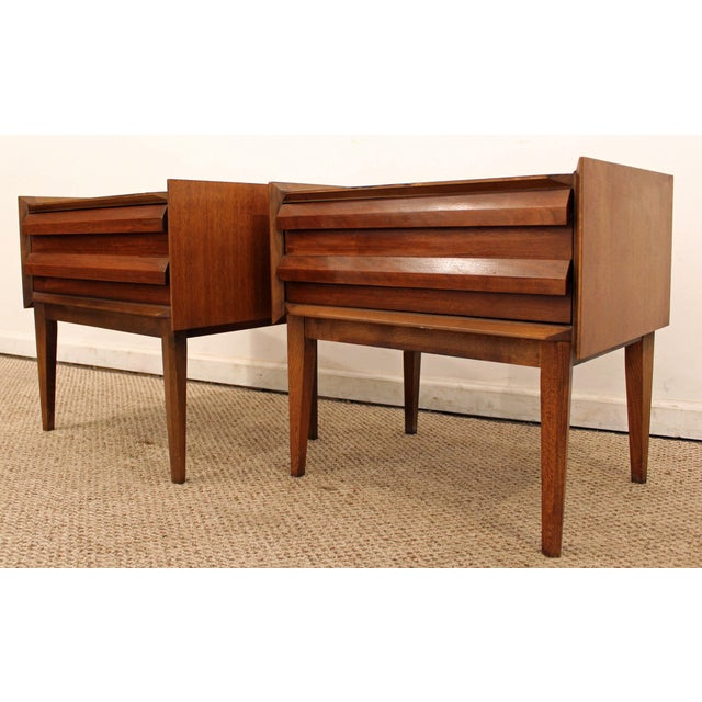 Lane Mid-Century Danish Modern Walnut Nighstands- A Pair - Image 3 of 11
