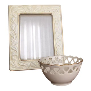 Lenox China Picture Frame and Small Candy Dish - A Pair