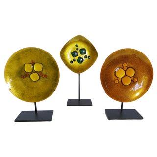 Vintage Modernist Enamel Copper Plates - Set of 3
