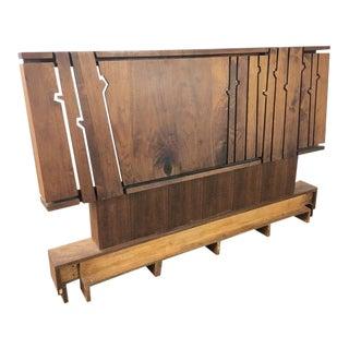 Modern Walnut Queen Size Platform Bed