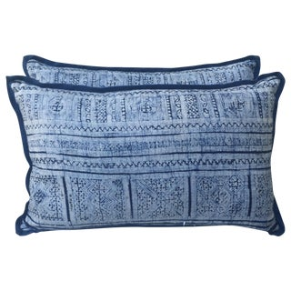 Faded Indigo & White Batik Pillows - A Pair