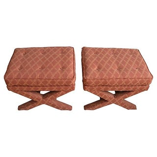 Tufted Upholstered X-Benches - A Pair