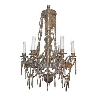 "Cut Crystal French Art Deco ""Maison Bagues"" 6-Light Chandelier- 1910-1920's"