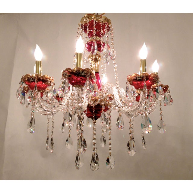 Red Crystal Chandelier - Image 3 of 8