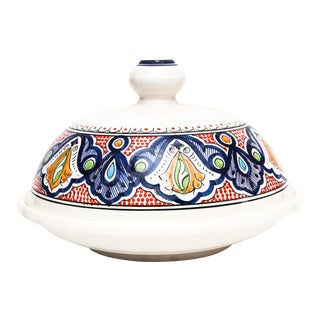 Moroccan Handpainted Large Serving Ceramic Tajine