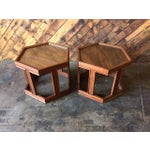 Image of Mid-Century Brown Saltman Side Tables - A Pair
