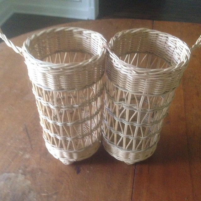 Vintage Wicker Double Wine Basket Chairish