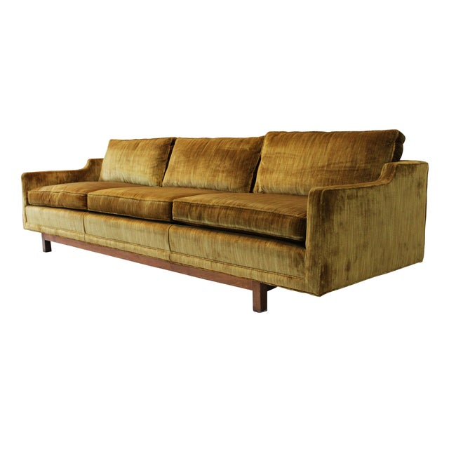 "Mid-Century Modern 101"" Sofa W Solid Walnut Base - Image 5 of 9"
