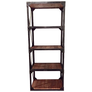 Reclaimed Wood & Iron Bookcases - A Pair