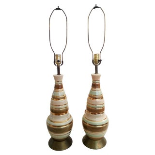 Pastel and Gold Striped Lamps - Pair
