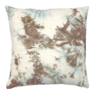 Tan & Blue Hand Dyed Shibori Marbled Throw Pillow