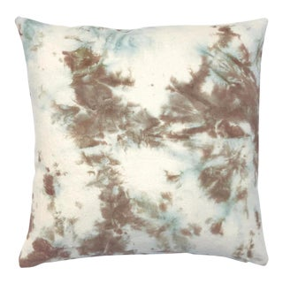 Tan & Blue Hand Dyed Shibori Marbled Throw Pillow