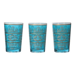Tunisian Turquoise Tea Glasses - Set of 6