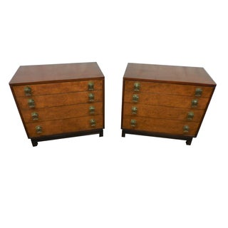 Johnson Furniture Co. Vintage Burl Chests - A Pair