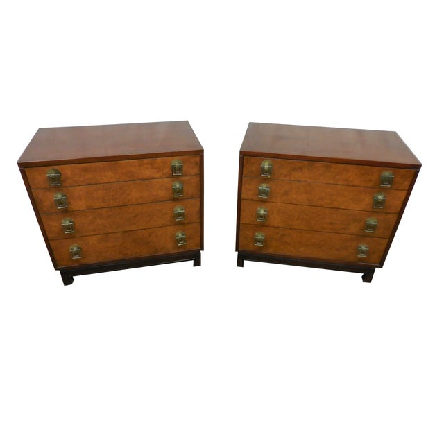Image of Johnson Furniture Co. Vintage Burl Chests - A Pair