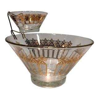 Pasinski Mid-Century Modern Gold Textured Chip & Dip Bowl - 3 Piece Set