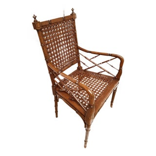 Stately Italian Mid-Century Chinoiserie Style Faux Bamboo Cane Armchair