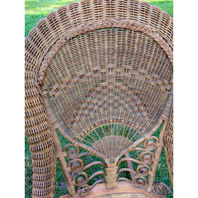 Victorian Wicker Rocking Chair Nursing Rocker in Original Condition Excellent Light Color 1800s Japanese Fanback - Image 8 of 11