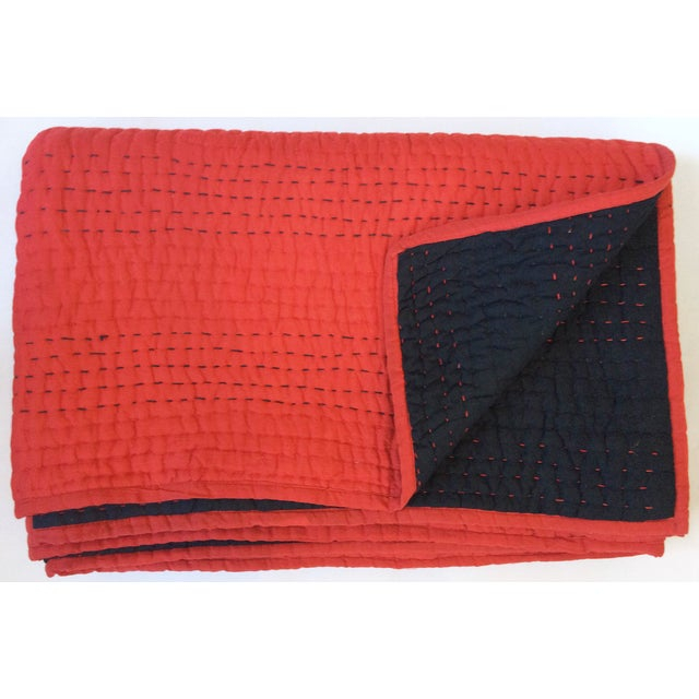 Red & Black Kantha Coverlet - Image 2 of 4