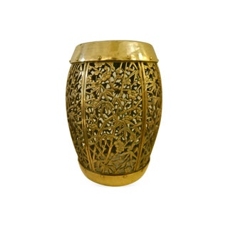 Heavy Reticulated Brass Asian Stool
