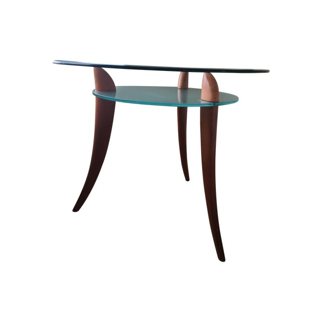 Architectural Design Wood & Glass Side Table - Image 1 of 8
