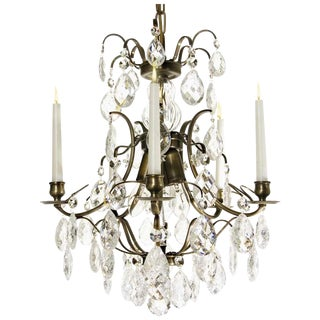 Baroque Chandelier, 5 Ebony Cracked Almond