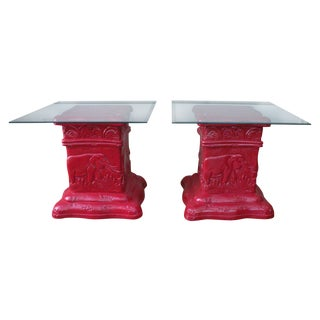 Safari Chic Red Elephant Side Tables