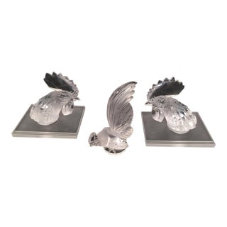 Lalique Coqs Bookends & Paper Weight - Set of 3