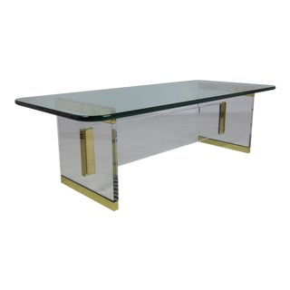 Exceptional Lucite and Brass Coffee Table