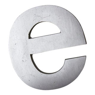 Industrial Silver Salvaged Letter E