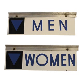 1950s Enamel Gas Station Men and Women Restroom Signs
