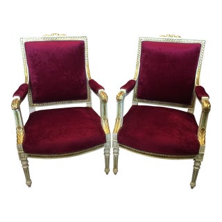 Red Neoclassical Acanthus Leaf Chairs - A Pair