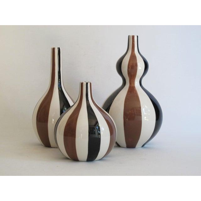 jonathan adler striped vase collection set of 3 chairish. Black Bedroom Furniture Sets. Home Design Ideas