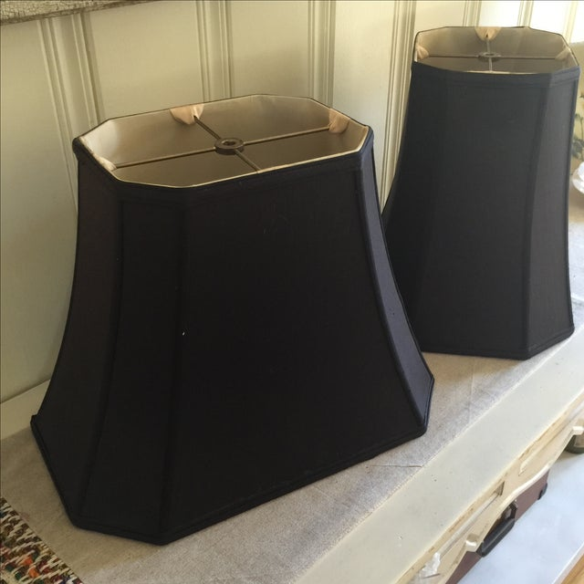 Mid-Century Black Silk Lamp Shades - A Pair - Image 5 of 11