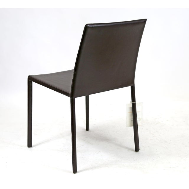 Contemporary Brown Leather Wrapped Dining Chair | Chairish