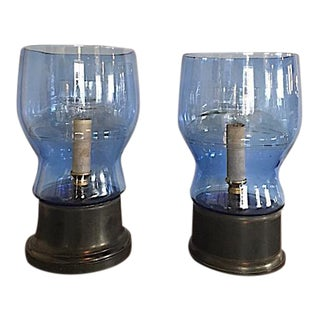 Vintage 1930s Glass Table Lamps - A Pair