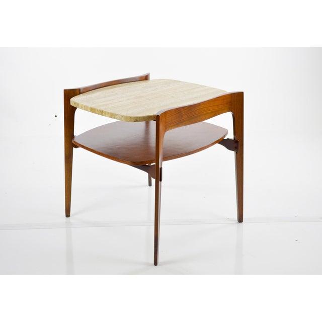 Image of Travertine & Walnut Modern Side Tables - Pair by Bertha Schaefer