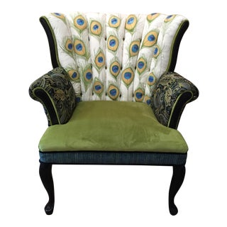 Hand Painted Peacock Channel Back Chair