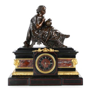 Traditional J.E. Caldwell Mantel Clock With Bronze Sculpture of a Cartographer