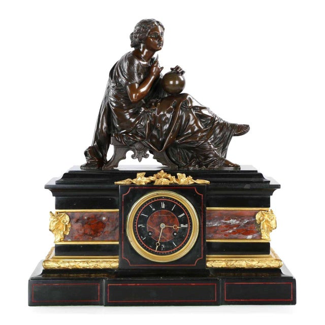 Traditional J.E. Caldwell Mantel Clock With Bronze Sculpture of a Cartographer - Image 1 of 10